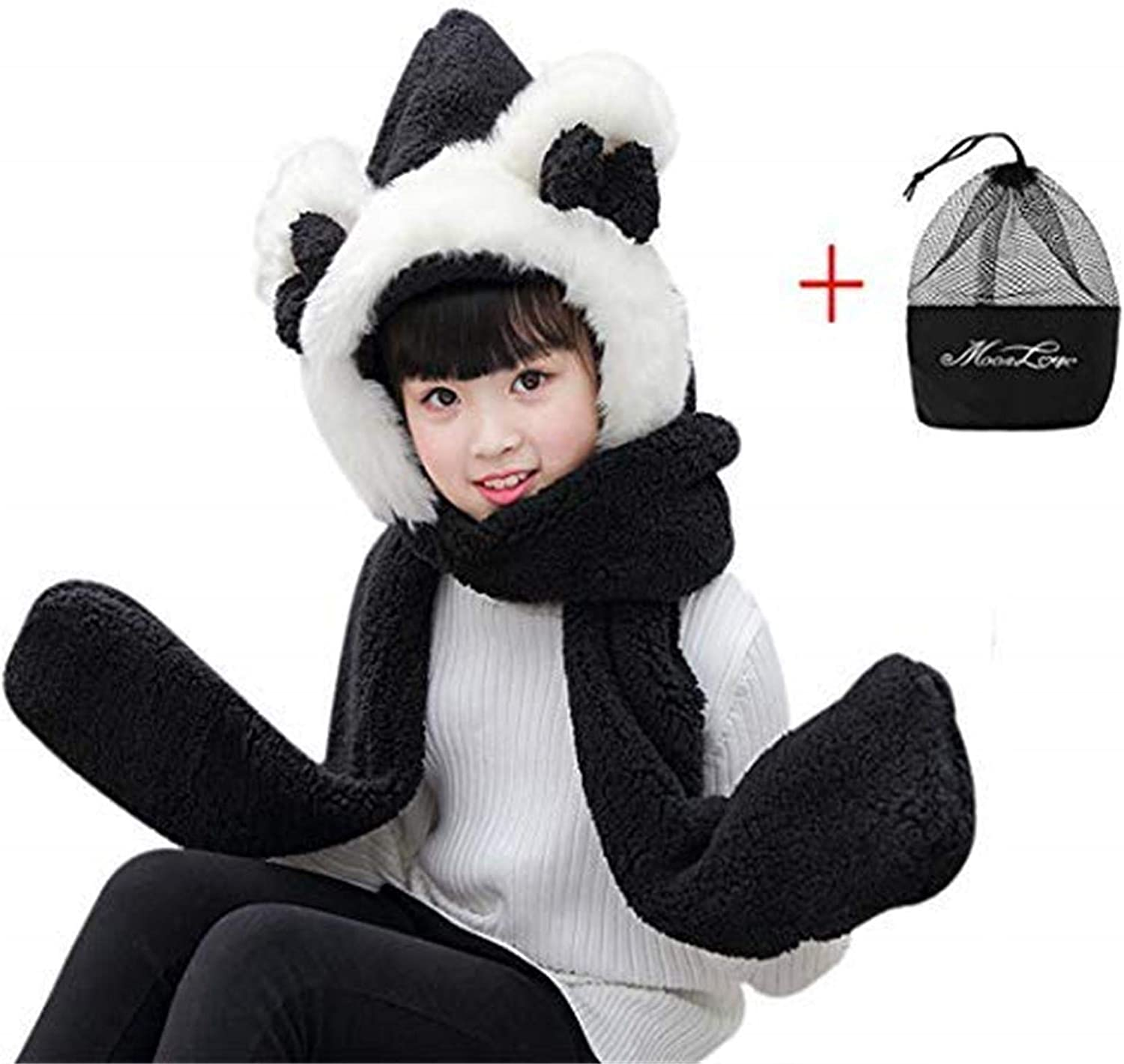 Winter Warm Plush Hooded Scarf With Mittens Cute Cartoon Plush Hoodie Gloves Pocket Earflap Hat Costume Party Dress Hat Christmas//Birthday Gift For Kids Kids 3 In 1 Hat Gloves Scarf Set