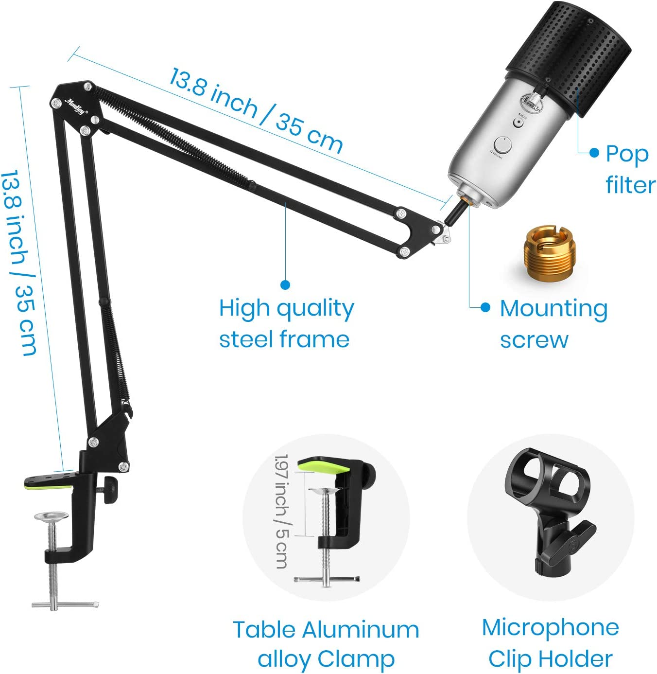 Mic Clip Moukey Microphone Arm Set 3//8 to 5//8 Adapter Snowball /& Other Microphones Upgraded Mic Stand Clamp for Blue Yeti Adjustable Suspension Boom Scissor Mic Stand with U-Shaped Pop Filter