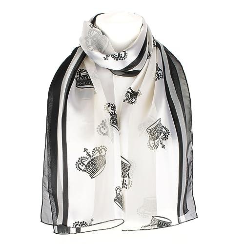 Foulard Chiffon/Raso stampa corona, scialle, coprispalle