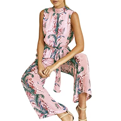 e04496458b9 Amazon.com  Handyulong Women Jumpsuits Chiffon Casual Floral Print Open  Back Lace up Belted Wide Leg Long Pants Playsuit Rompers Overalls  Clothing