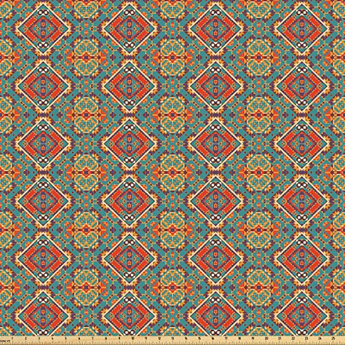 Ambesonne Native American Fabric by The Yard, Ethnic Indigenous Art Drawing Tribal Folk Artistic Tile Tribal, Microfiber Fabric for Arts and Crafts Textiles & Decor, 10 Yards, Turquoise and Orange from Ambesonne