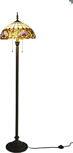 Amora Lighting Tiffany Style Table Lamp Banker Mission 22 Tall Stained Glass Tan Blue Orange Brown Vintage Antique Light D cor Nightstand Living Room Bedroom Handmade Gift AM290TL14B, Multicolored