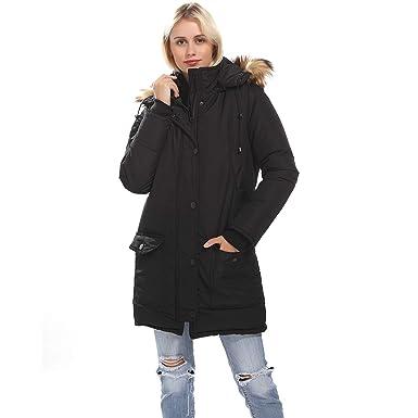 aa57bf70cd43 Women s Long Padded Jacket Thicken Parka Down Alternative Winter Faux Fur  Coat(Black