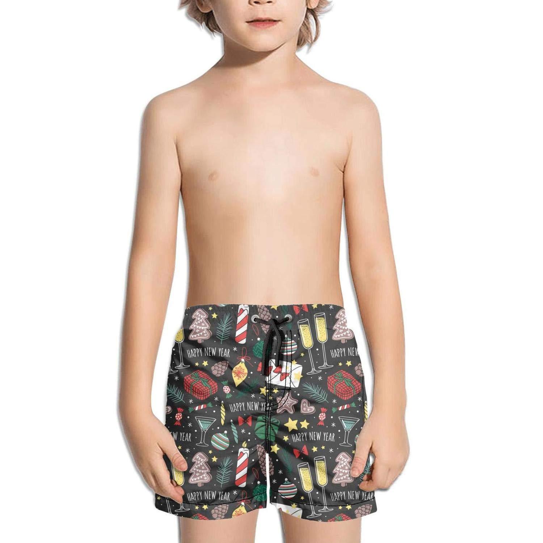 JIONONDS Happy New Year Merry Christmas Kids Beach Slim Fit Ruched Swim Shorts