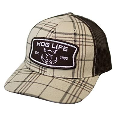 ab142d0f93280 Image Unavailable. Image not available for. Color  Hog Life Brand Patches  Brown Plaid Mesh Snapback Hat ...
