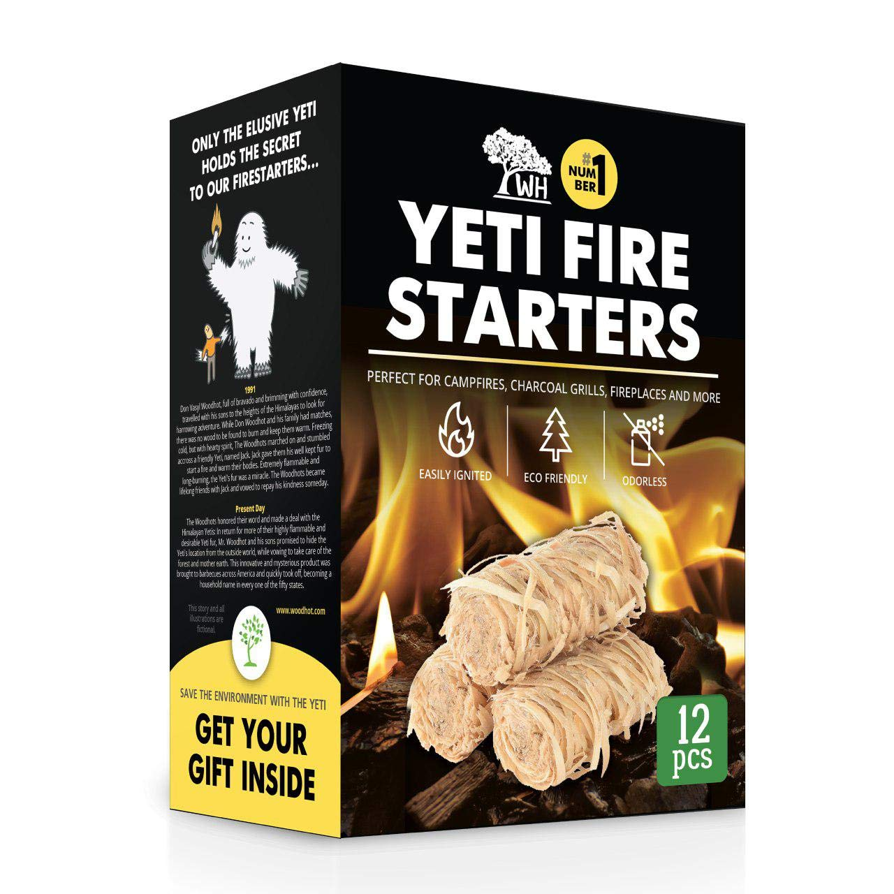WOODHOT FIRE Starters Natural Tumbleweeds | 12 pcs | - YETI Wood fire Starter for Fireplace, Campfire, Wood Stove, fire Pit, Charcoal Grill, Barbecue Smoker, BBQ by WOODHOT