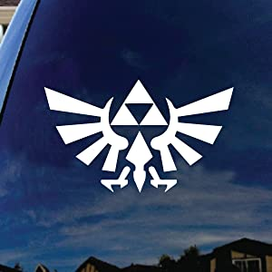 "SoCoolDesign Zelda Inspired Wings Silhouette Car Truck Laptop Sticker Decal 5"" Wide (White)"