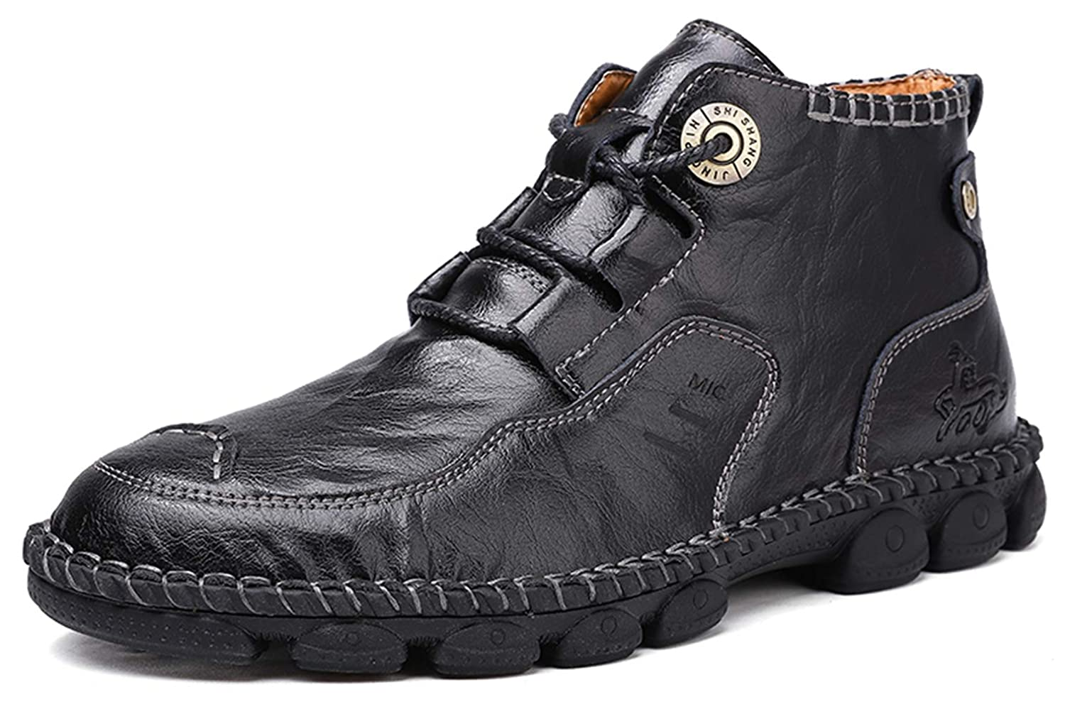 Steampunk Boots & Shoes, Heels & Flats Honeystore Mens British Martin Boots High-top Leather Motorcycle Shoes Lace-up Booties $45.99 AT vintagedancer.com