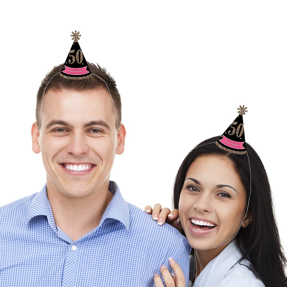 Black and Gold Small Little Party Hats Set of 10 Mini Cone Birthday Party Hats Chic 50th Birthday Pink