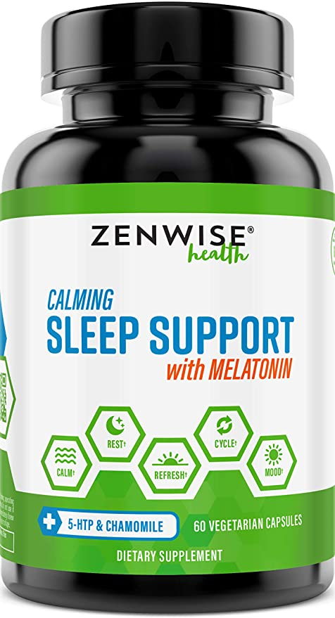 Zenwise Natural Sleeping Aid - Nighttime Sleep Support Supplement - 100 MG 5 HTP + Magnesium to Fall Asleep Fast - Chamomile & Melatonin for a Calm & Restful Night - Non Habit Forming - 60 Capsules