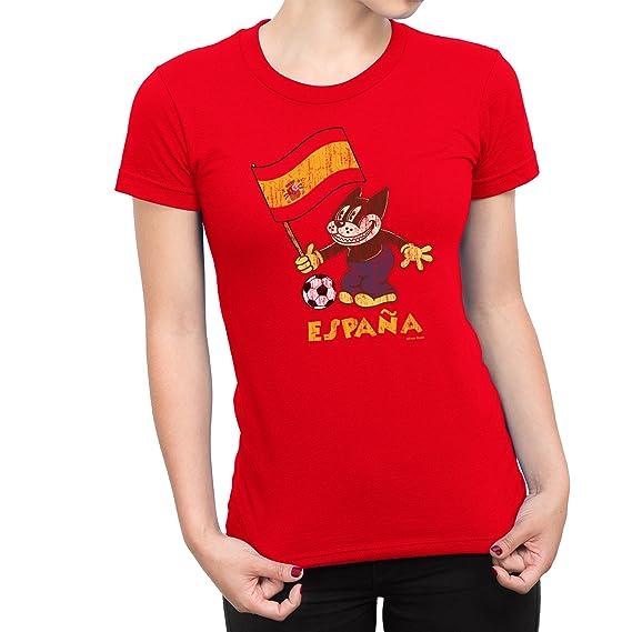 De Las Mujeres Spain Comic Fútbol Cat Flag Camiseta Copa del mundo2018 Señoras Retro Sports: Amazon.es: Ropa y accesorios
