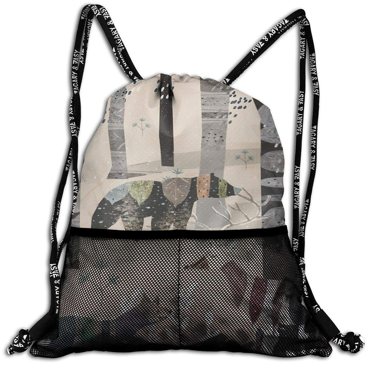 Forest In Sweater Unisex Drawstring Casual Rucksack with Mesh Beam Backpack Bag 8FGQVZX6NNIL8YW1IQP2