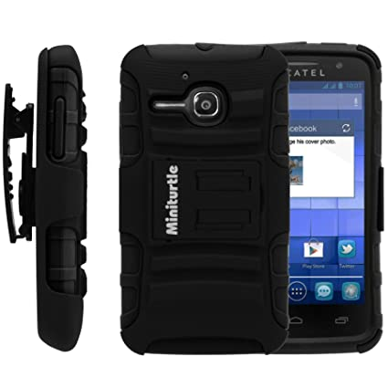 best sneakers 5cc86 da11e MINITURTLE Case Compatible with Alcatel One Touch Evolve Case, Alcatel One  Touch Evolve Holster, Two Layer Hybrid Armor Hard Cover with Built in ...