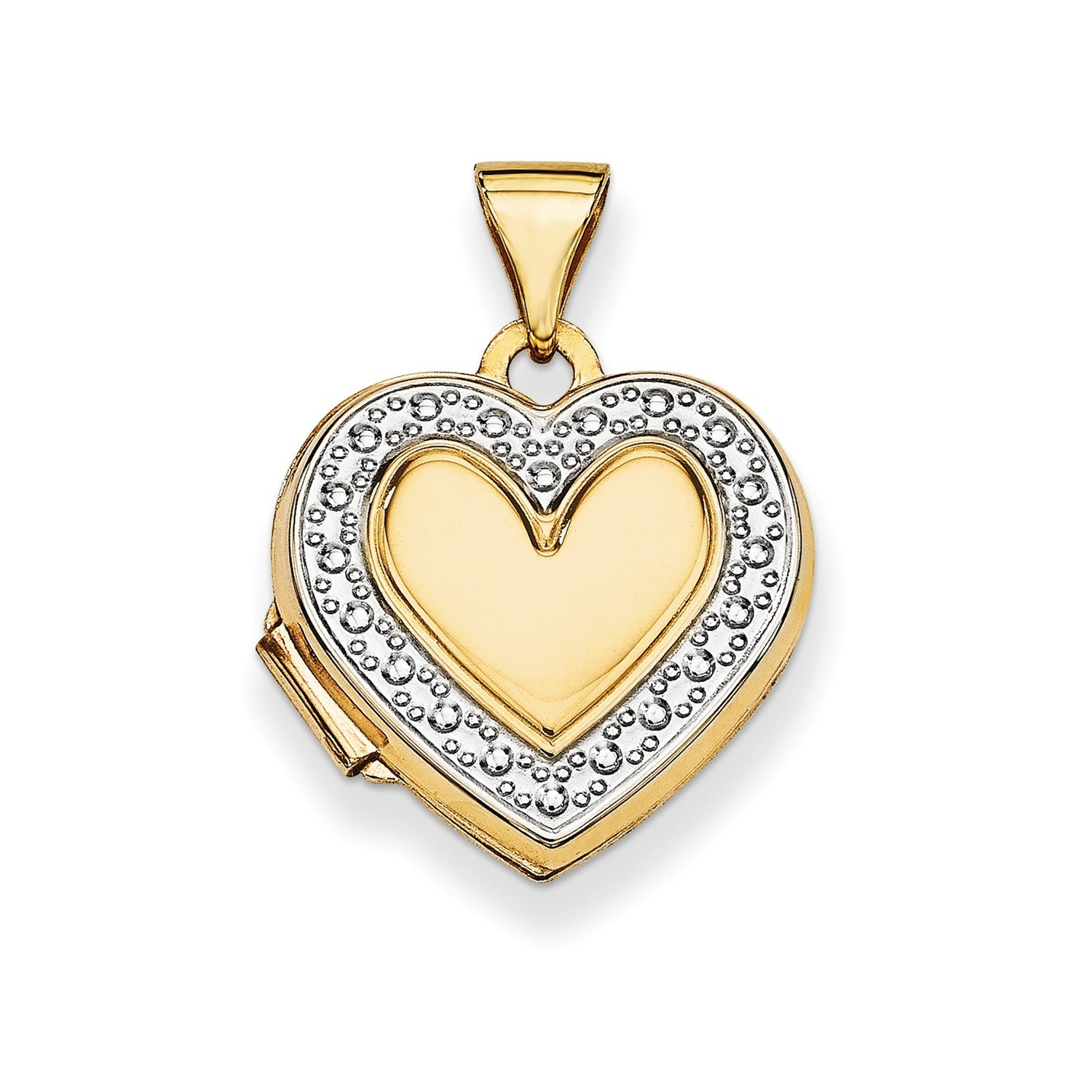 Roy Rose Jewelry 14K Yellow Gold with Rhodium Accent Heart Locket 21x15mm