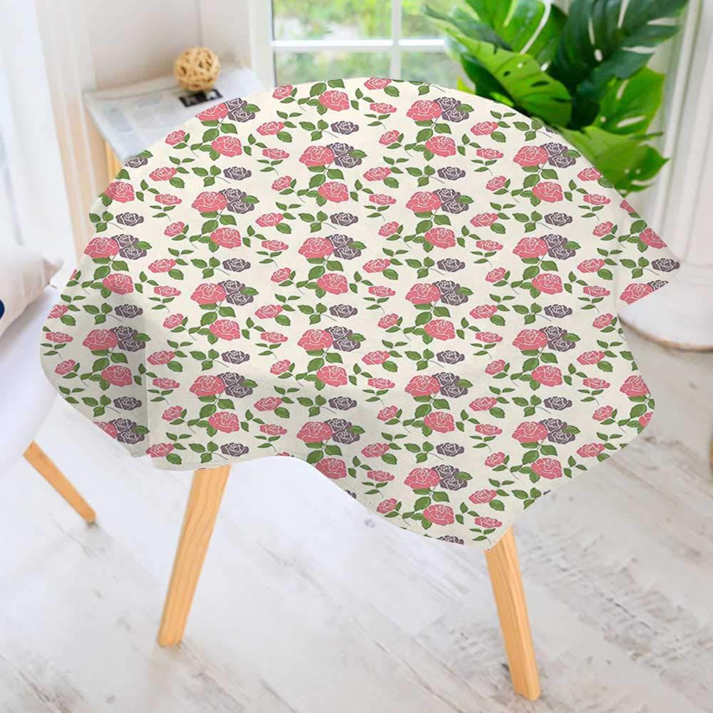 """UHOO2018 Table Decoration Durable-Flowers Roses Romantic Country Design with Leaves Art Light Pink Lilac White and for Home Kitchen Dining roomWaterproof Coffee Tablecloth 40"""" Round"""