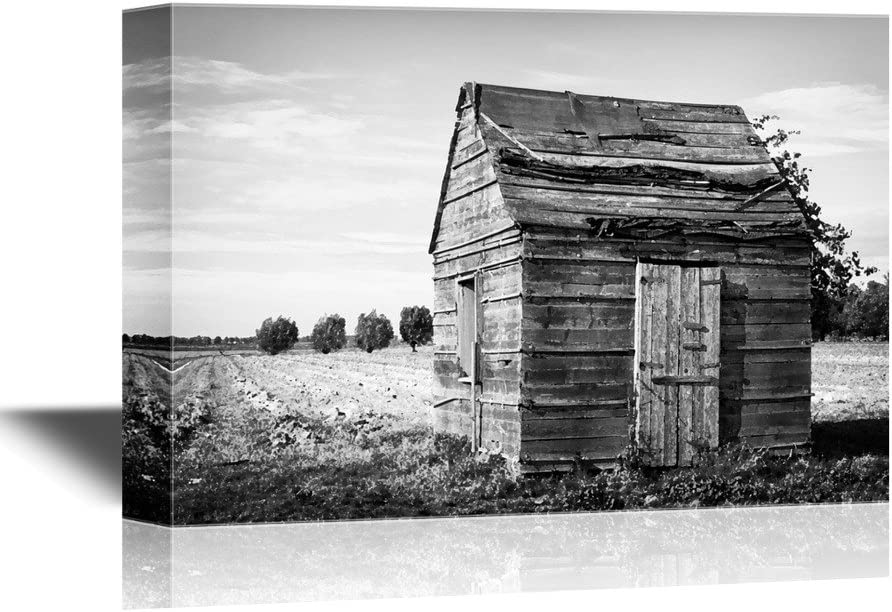 Original Creation, Gorgeous Composition, Wood Hut in The Field in Black and White
