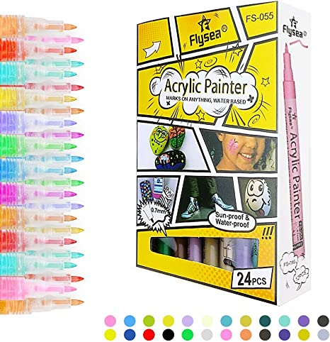 Acrylic Paint Markers Pens Assorted Color For Rocks Canvas Glass Plastic