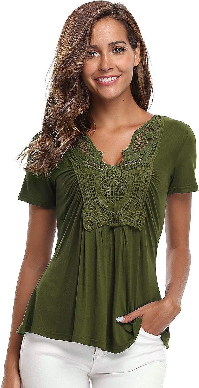MISS MOLY Blusas y tops de encaje para mujer Camiseta con cuello en V con pliegues en la parte delantera
