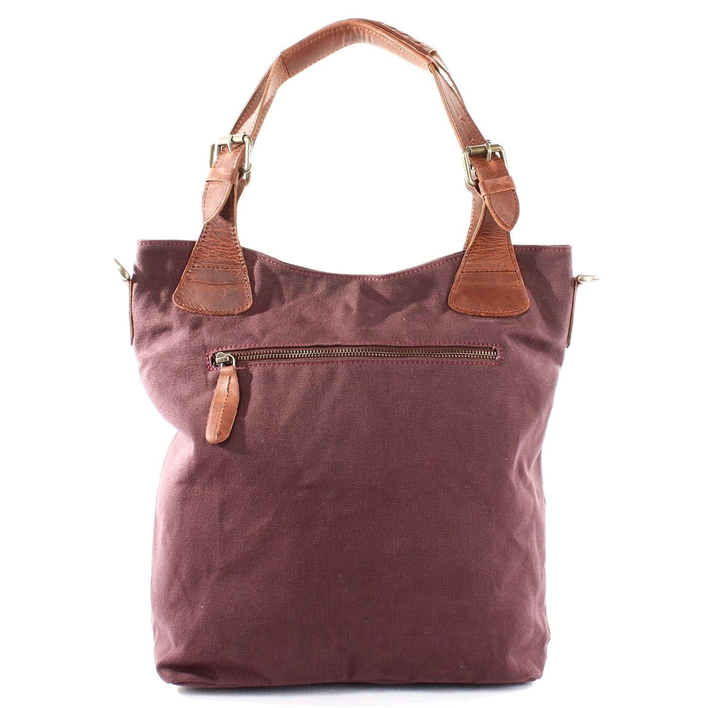 5cbd6d133a078 LECONI Henkeltasche Vintage Look Damentasche Handtasche Damen Shopper mit  Schulterriemen Beuteltasche Canvas Leder 34x35x10cm bordeaux LE0054-C   Amazon.de  ...