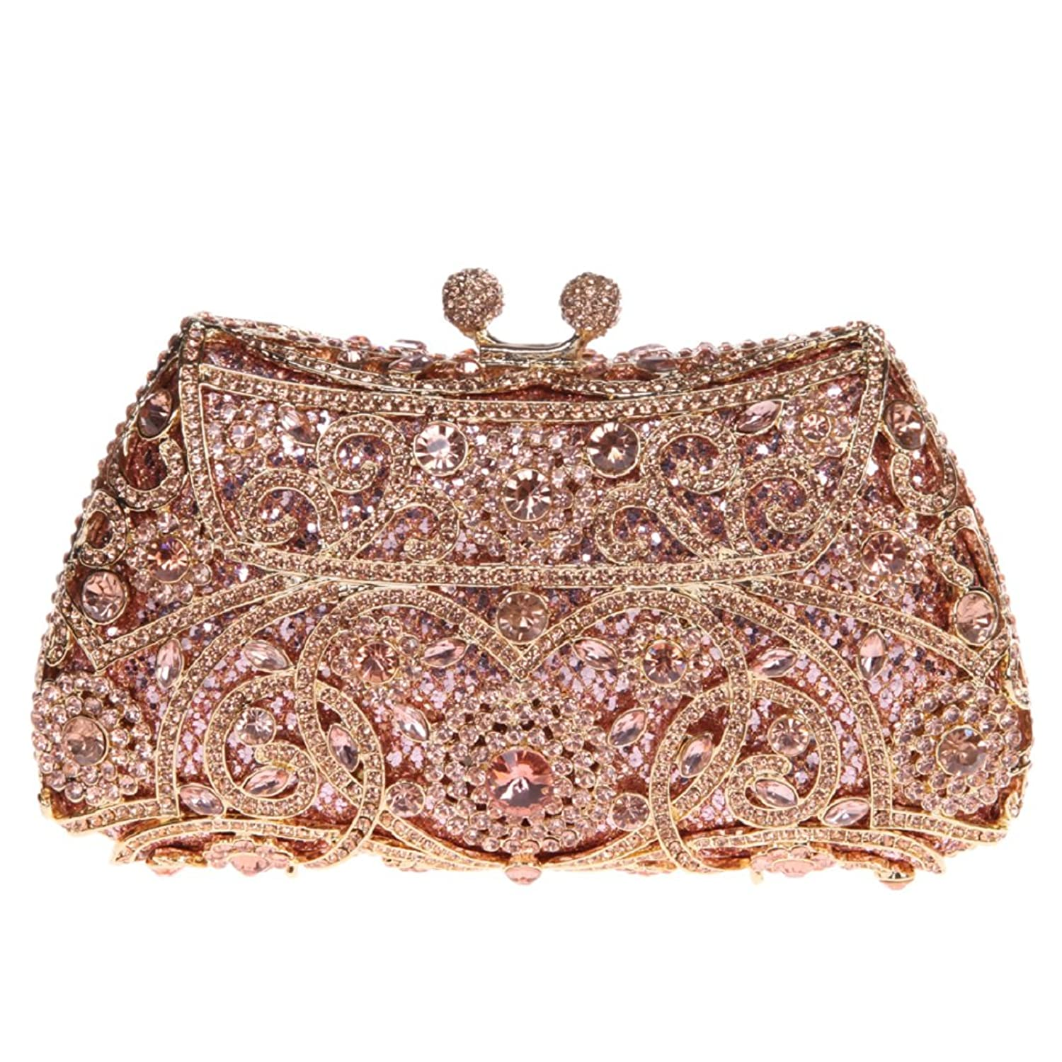 Kisslock Purses And Handbags For Womens Wedding Party Clutch Bags Rose Gold
