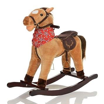 Lcp kids grand cheval a bascule grandor en bois et peluche pour enfant jouet avec