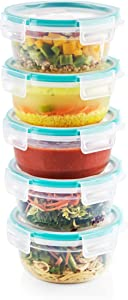Snapware Total Solution Plastic Meal Prep and Food Storage 10-Piece Set (3.8-Cup Round Containers, BPA Free, Leakproof Lids, Microwave, Dishwasher and Freezer Safe), Clear