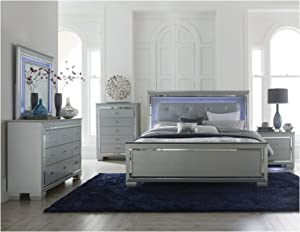 Thaweesuk Shop 4 Piece Grey Mirrored Purple LED Lights Style Contemporary King Size Bedroom Set Furniture Bed Nightstand Dresser Mirror Department New Hardwood Solid Wood
