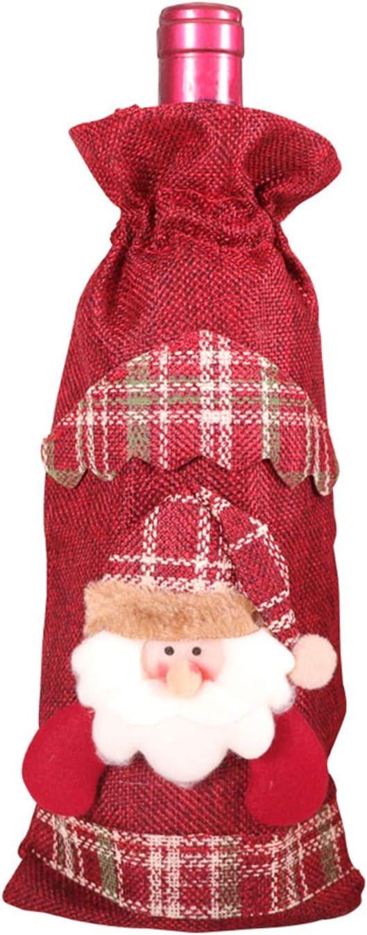 Bolsas de botella de vino tinto de Navidad,cubierta de botella de vino de Navidad Bolsas botella de Papá Noel,juego de botella Decoración de mesa de cena para decoración de fiesta Navidad