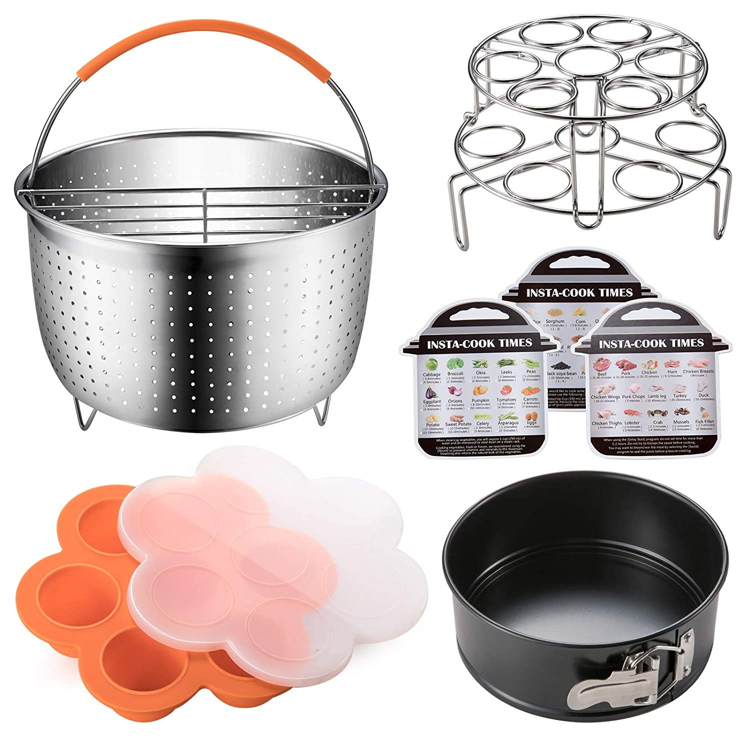 Accessories Set Compatible with Instant Pot 6,8 QT, Steamer Basket with Divider, Springform Pan, Egg Bites Mold, Stackable Steamer Racks, Magnetic Cheat Sheet by Nenazzz