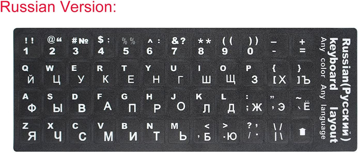 """2 PCS Russian Keyboard Stickers with Non-Transparent Black Background & White Letters for PC/Computer/Laptop [Size of Each Key Sticker: 0.43"""" x 0.51""""] (Russian)"""