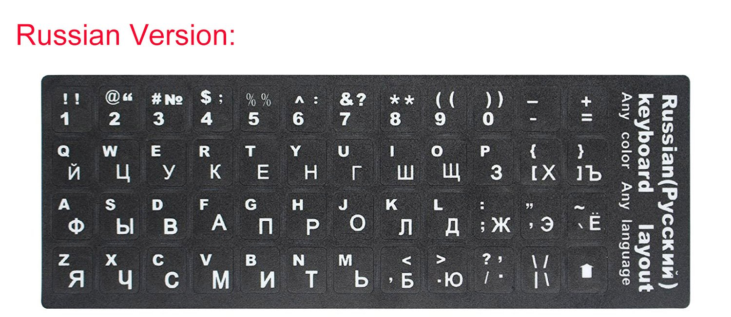 a945155d985 2 PCS Russian Keyboard Stickers with Non-Transparent Black Background & White  Letters for PC/Computer/Laptop [Size of Each Key Sticker: 0.43