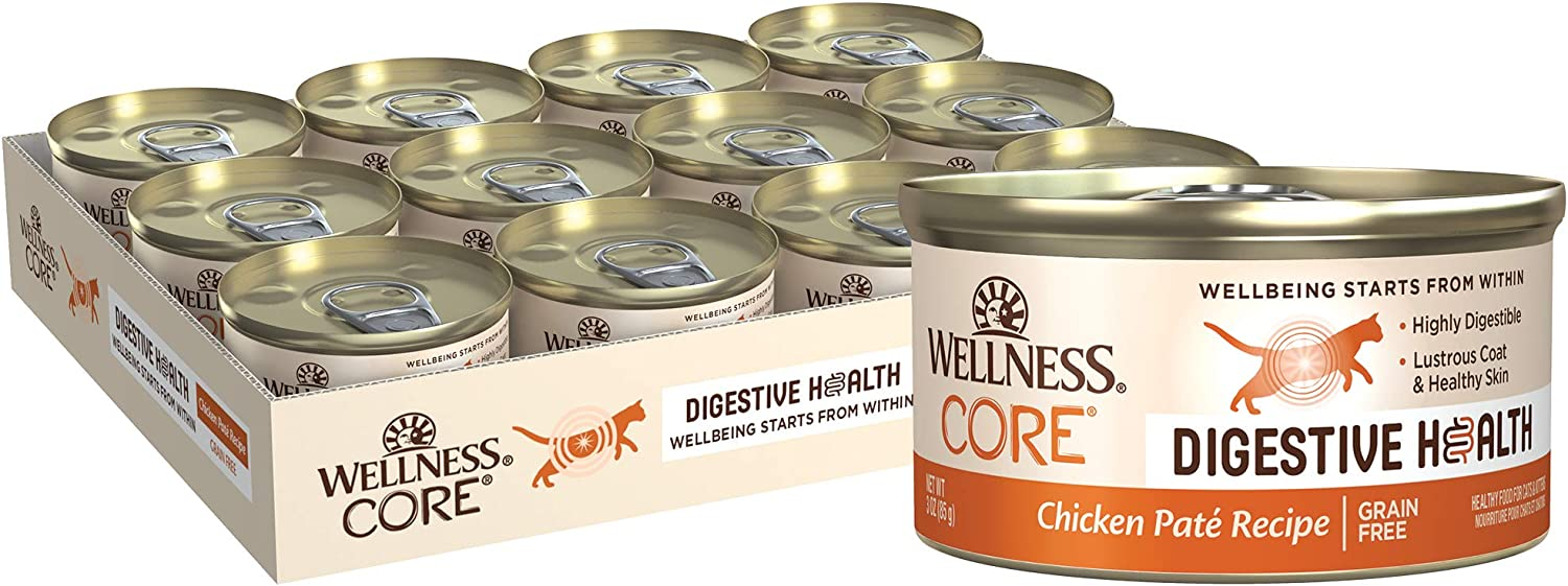 Wellness Natural Pet Food CORE Digestive Health Chicken Pate Wet Cat Food, 3-Ounce, Pack of 12