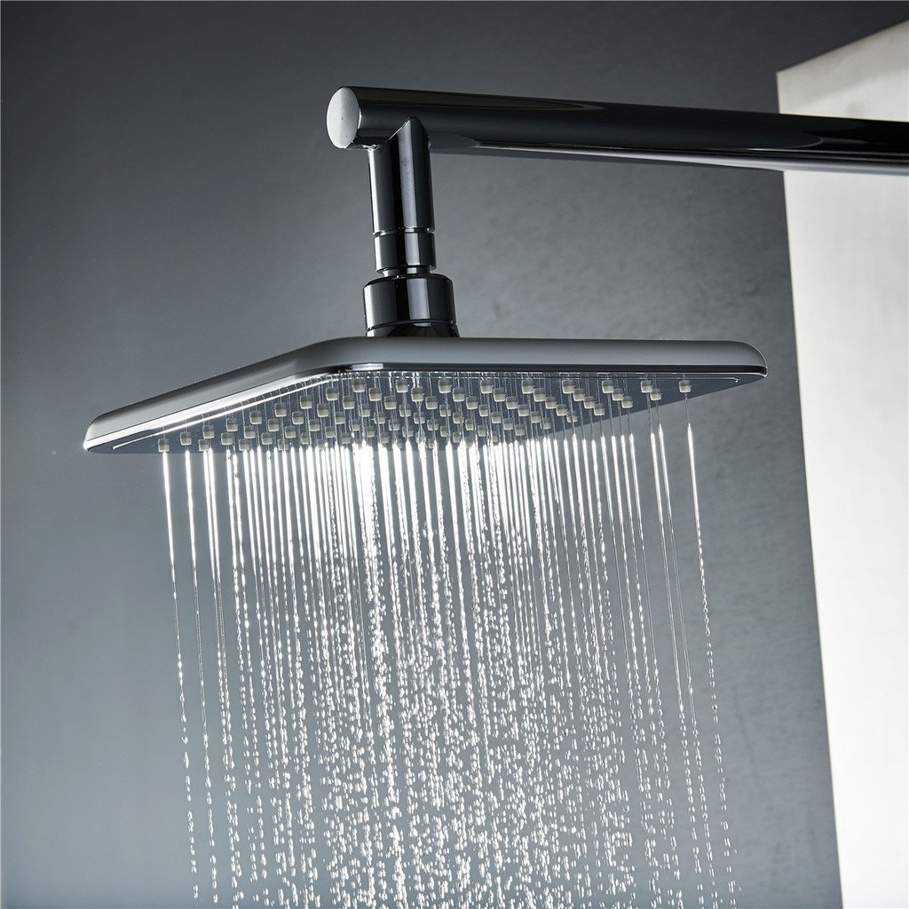 Vantory VD46 8 Inches Rainfall Polished Chrome Shower Head with Silicone Nozzles Swivel Metal Ball Connector