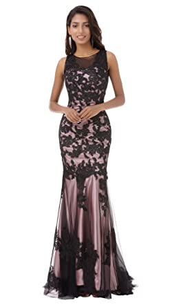 Tsygirls Scoop Neck Mermaid Black Lace Applique Long Evening Prom Dress Size 6 Pink