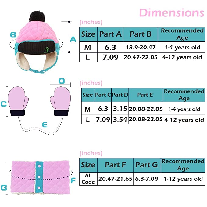 , Pink Triwonder Little Boys Girls Toddlers Winter Warm Fleece Flap Hat Scarf Mittens Set M 1-5 years old
