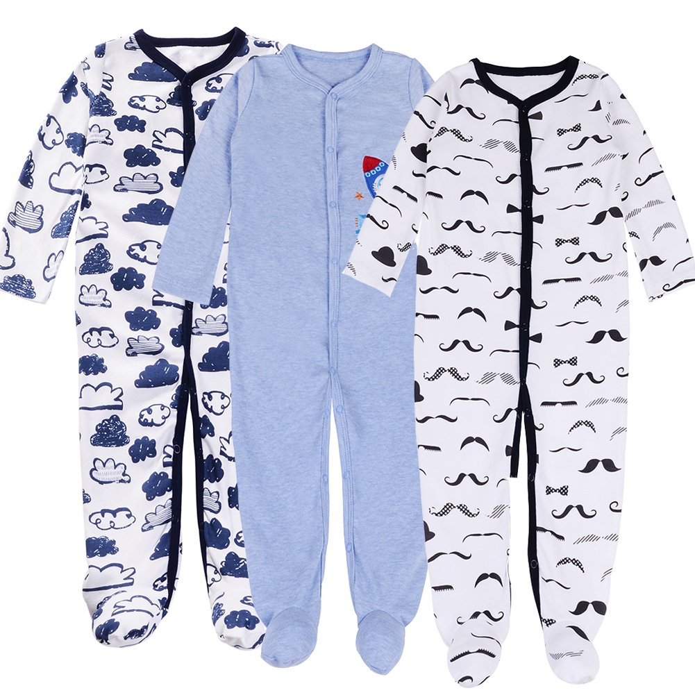 Exemaba Baby Footed Pajamas Sleeper for Boys - 3 Packs Infant Cotton Long Sleeve Jumpsuit Newborn Romper Bodysuit