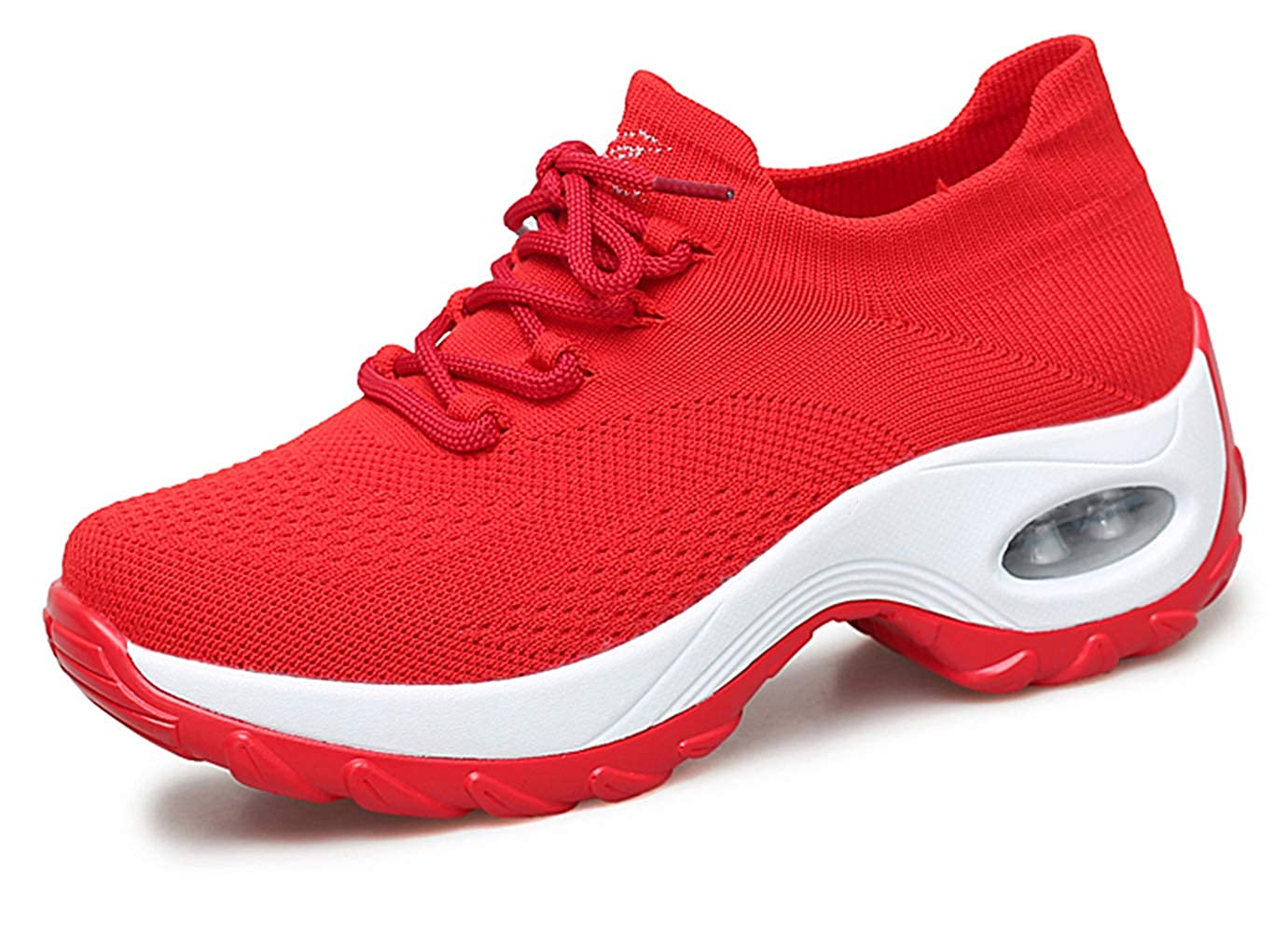 Red01 Ezkrwxn Women Athletic Walking shoes Sock Fashion Sneakers Flyknit Breathable Comfort Slip on Sports Trail Running shoes