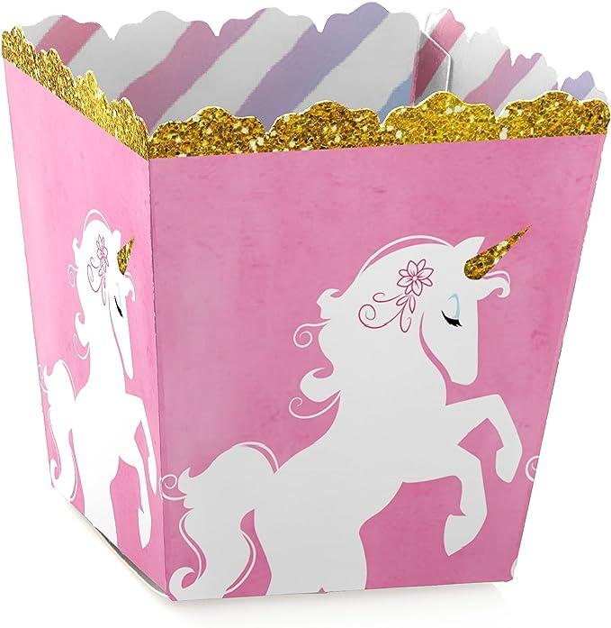 Unicorn Pink Pony Kids Girls Popcorn Sweet Birthday Movie Party box