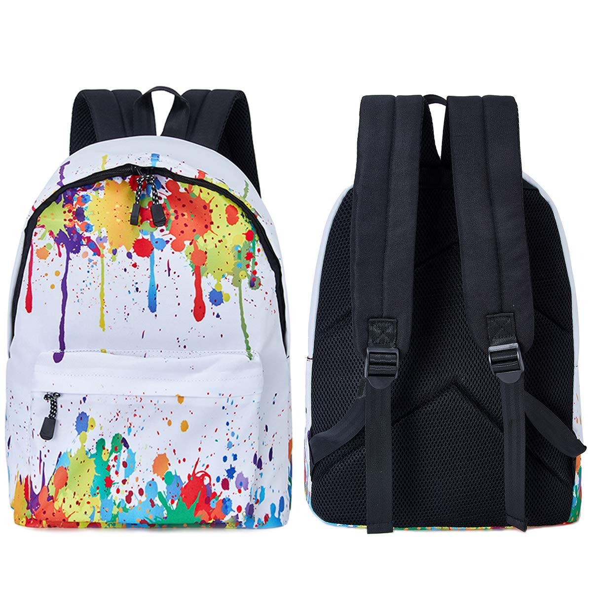 TUONROAD Cool 3D Printed Backpack White Tiedye Casual School Travel Laptop Backpack Rucksack Daypack Bags