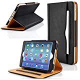 Zonewire® BLACK & TAN LEATHER WALLET SMART FLIP CASE COVER & SCREEN PROTECOR FOR APPLE IPAD 2 3 4 AIR WITH FULL SLEEP WAKE COMPATIBILITY! (Ipad 2)