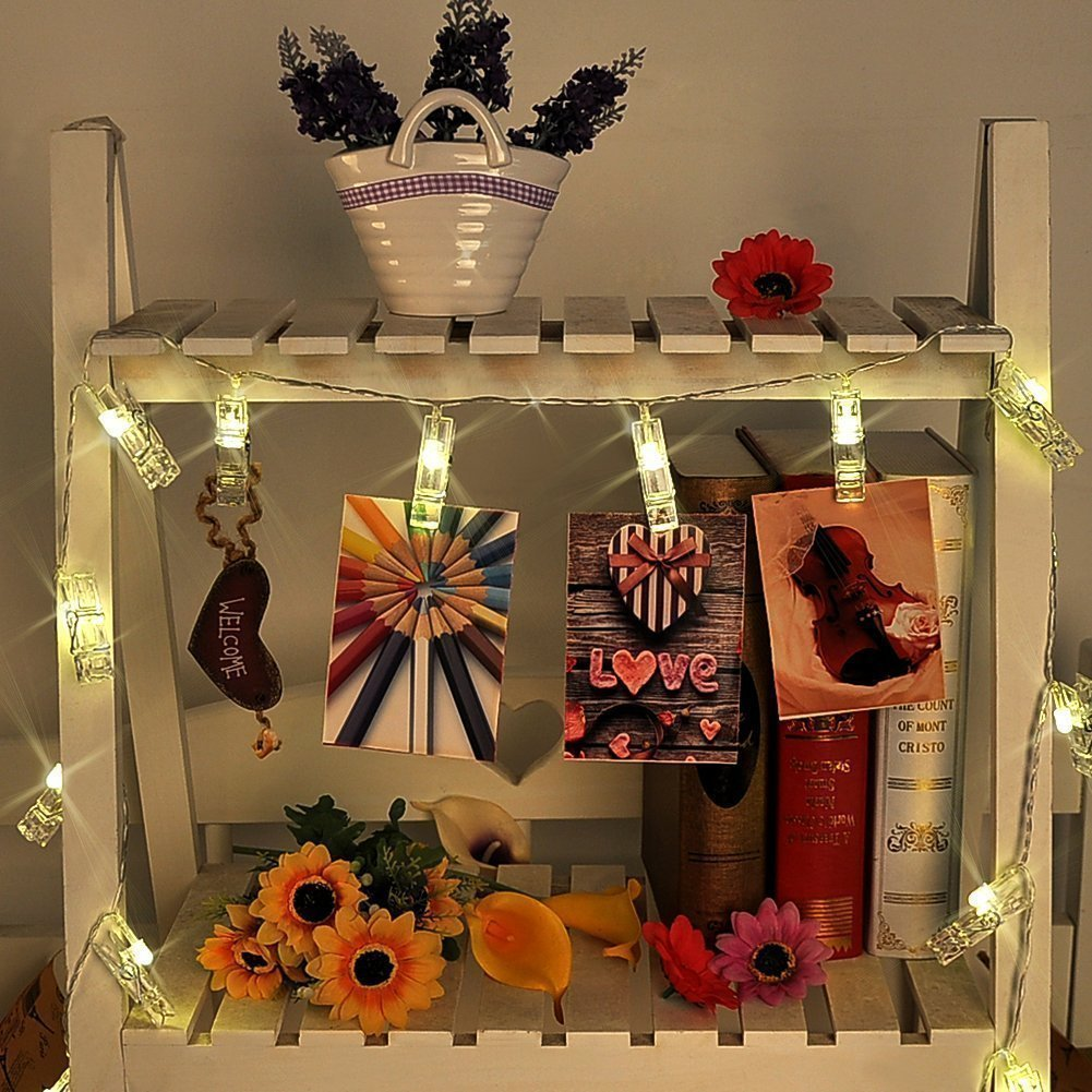 LED String Light with Clothespins, Clip, for Hanging Pictures, Photos, Artworks and More.. by gogomall (Image #9)