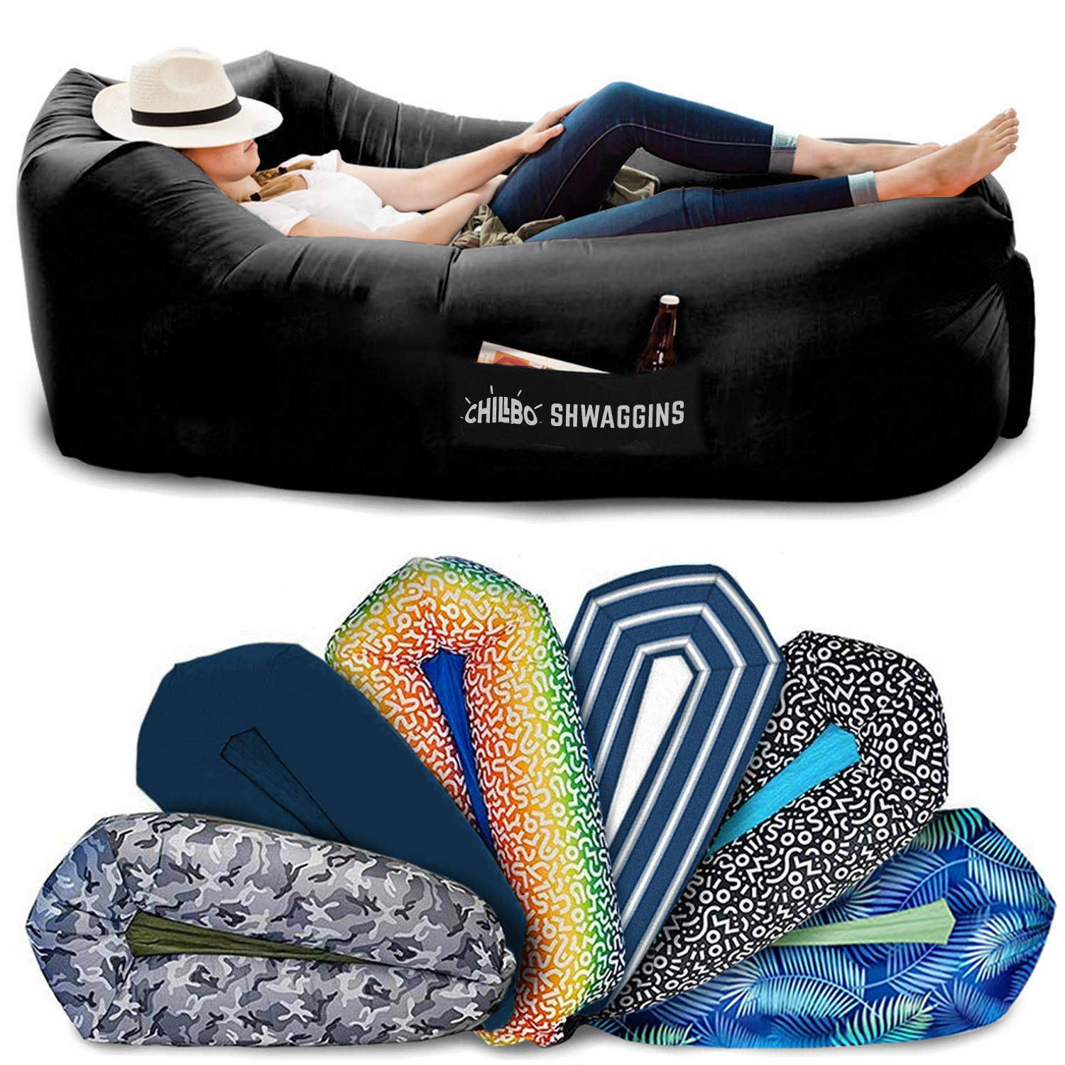 Chillbo SHWAGGINS 2.0 Best Inflatable Lounger Portable Hammock Air Sofa and Camping Chair Ideal Gift Inflatable Couch and Beach Chair Camping Accessories for Picnics & Festivals (Black) by Chillbo