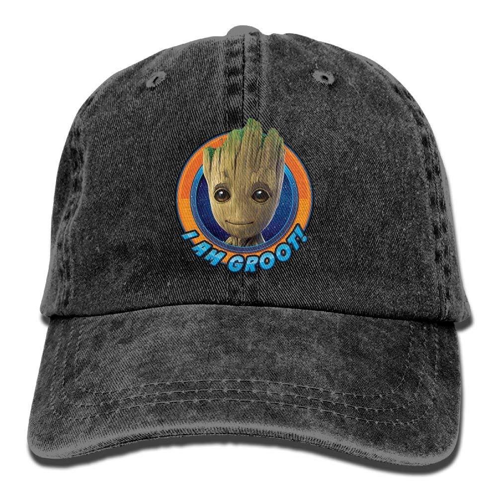 shyly I Am Groot 1 Mens Black Adjustable Vintage Washed Denim Baseball Cap Dad Hat Trucker Cap