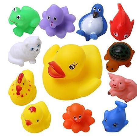 AKSH bath toys non-toxic animal soft toys for baby kids bath toys chu chu 12 piece set, Multi Color