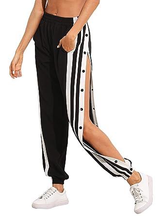 Sortenstile von 2019 tolle Passform zu verkaufen SOLY HUX Damen Hosen Sweatshose Streifen Sweatpants Elastischer Bund  Jogginghose mit Taschen, Knöpfe