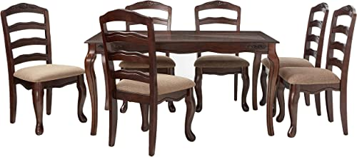 Furniture of America Kathryn 7-Piece Classic Style Dining Table Set, Dark Walnut Finish