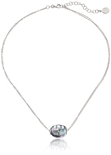 Majorica Chain Necklace with Gray Pearly Charm a1msoV