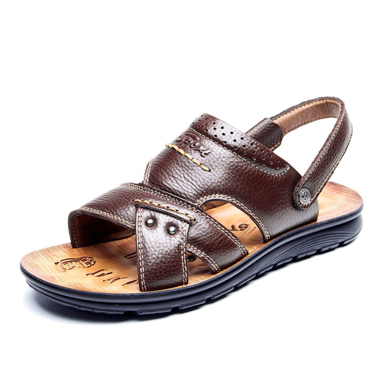 Zapatos De Playa Casuales De Verano De Cuero Antideslizante Sandalias Y Sandalias De Mediana Edad De Fondo Grueso 43 EU|Marrón