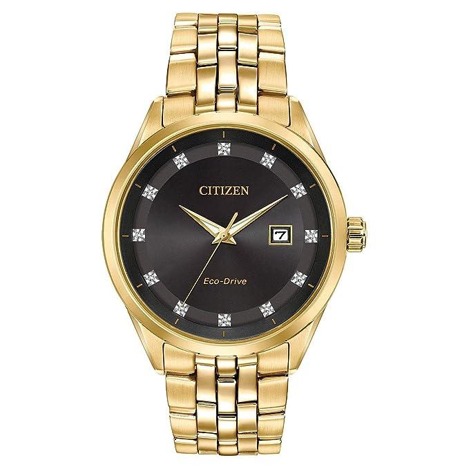 Amazon.com: Mens Citizen Eco-Drive Corso Yellow Gold Diamond Accent Watch BM7252-51G: Watches