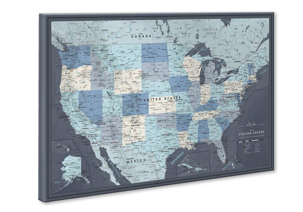 a large map of the united states Amazon.com: Push Pin Map United States on Canvas | Personalized